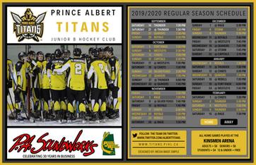 Prince Albert Titan's Schedule 2019/2020