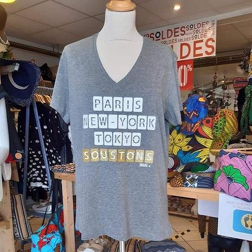 T-Shirt Kapitales  Femme Gris