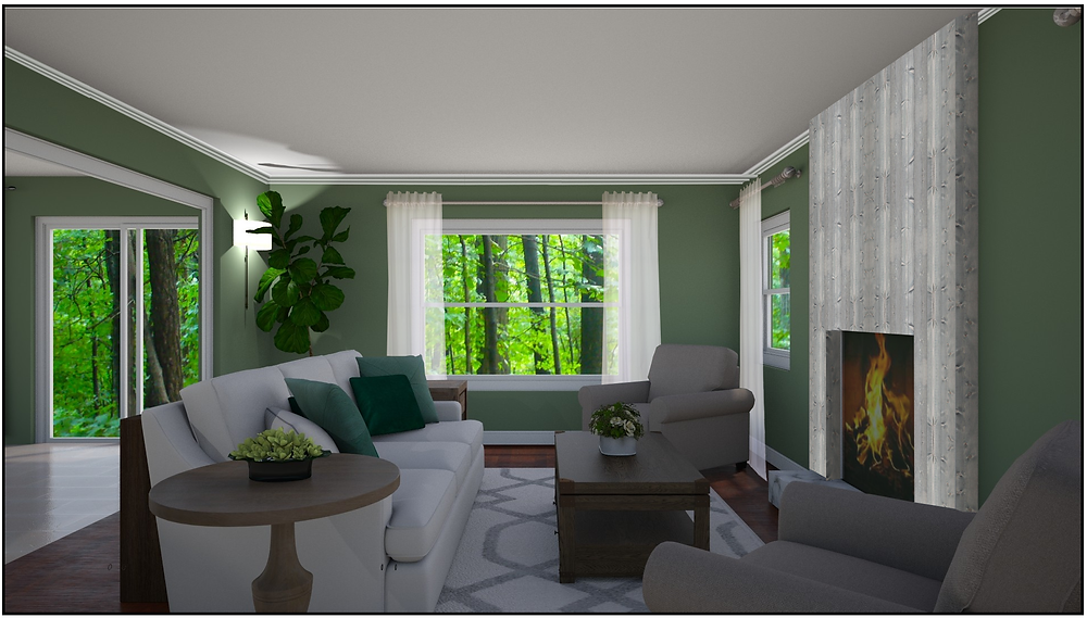 Online Interior Design Rendering of what the room will look like