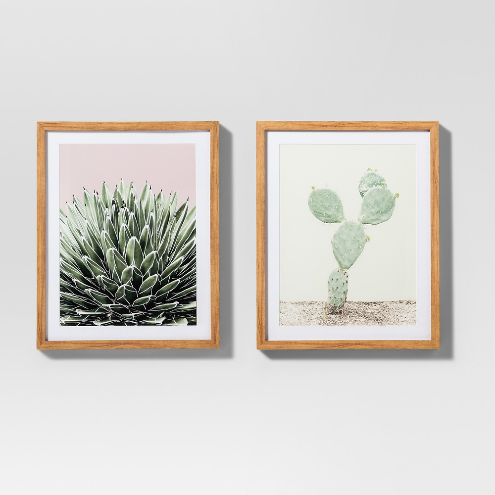 Set of two wall art frames, pink and green, Target