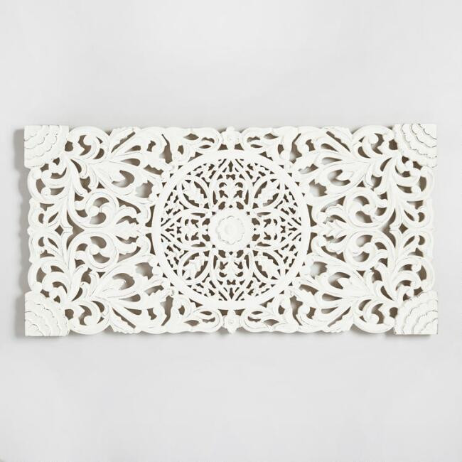 Wood carved white wall decor