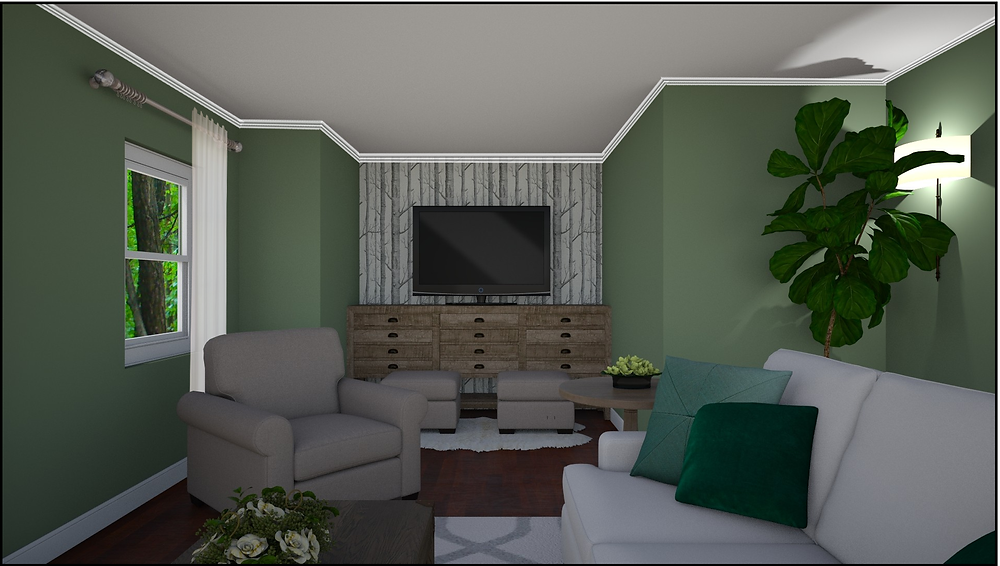 eDesign, living room with dark green walls, birch wallpaper, country modern feel