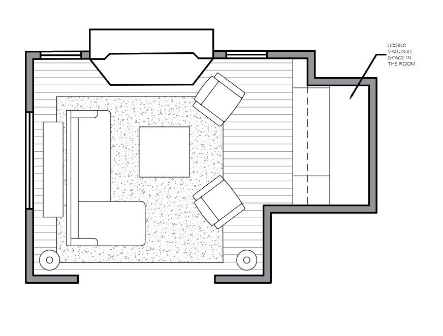 Awkward living room layout and furniture solution