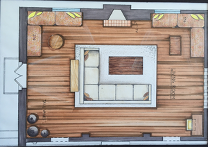Furniture layout and design hand rendering, neutral tones, large living room with fireplace and custom storage