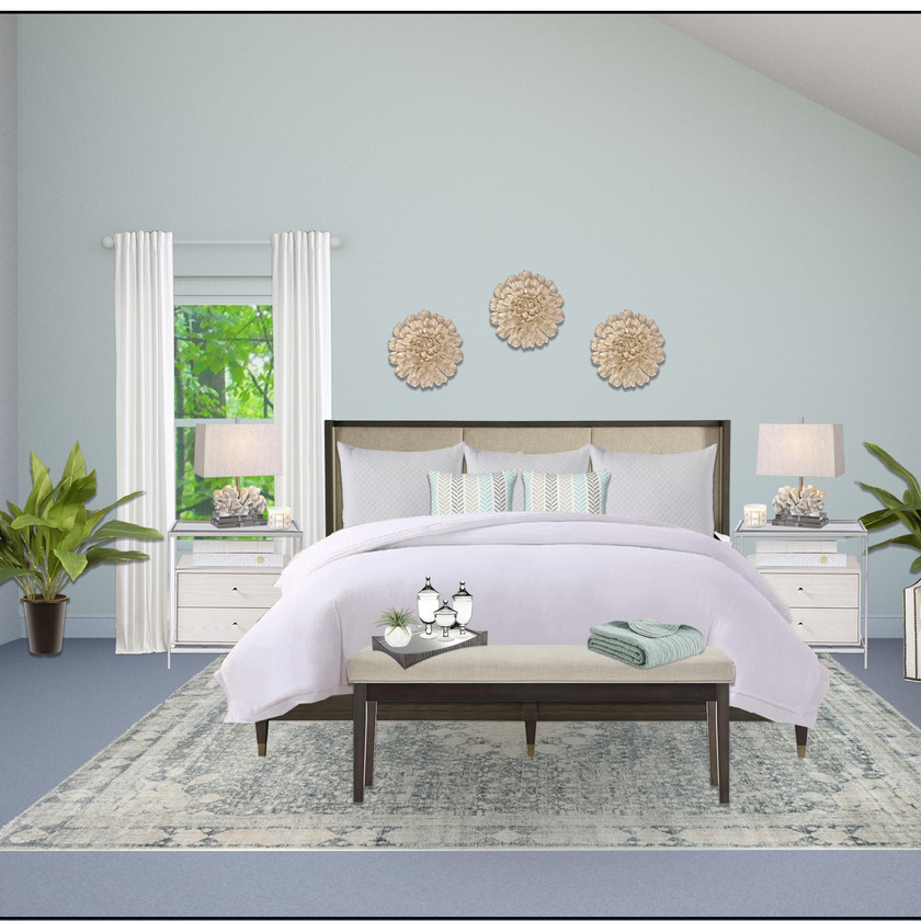 Online interior design, eDesign of a transitional master bedroom with virtual staging