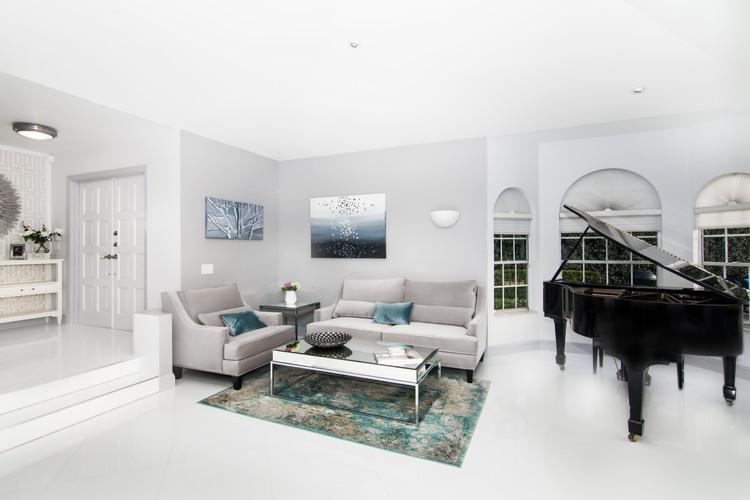 Open plan monochromatic interior design