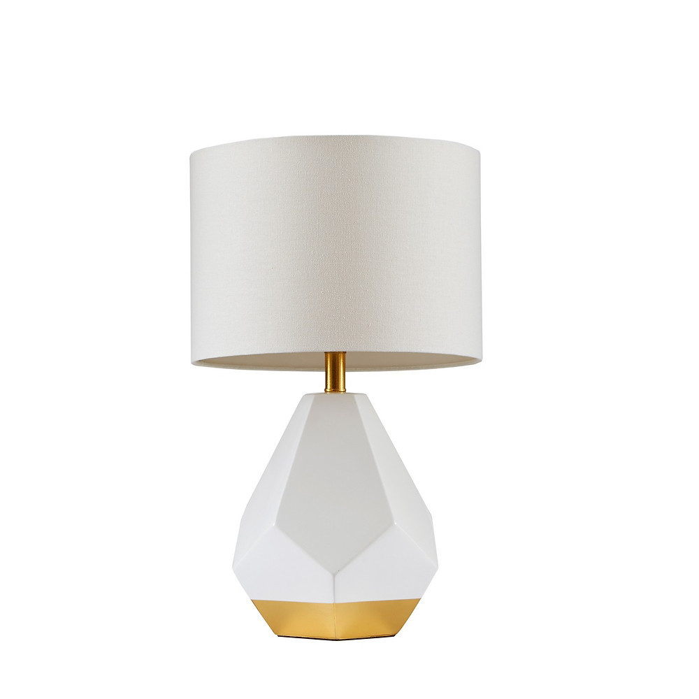 White and gold geometric hex shape table lamp, Target