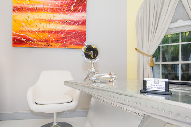 Contemporary home office. Modern, gray, yellow with accent chair and bold painting