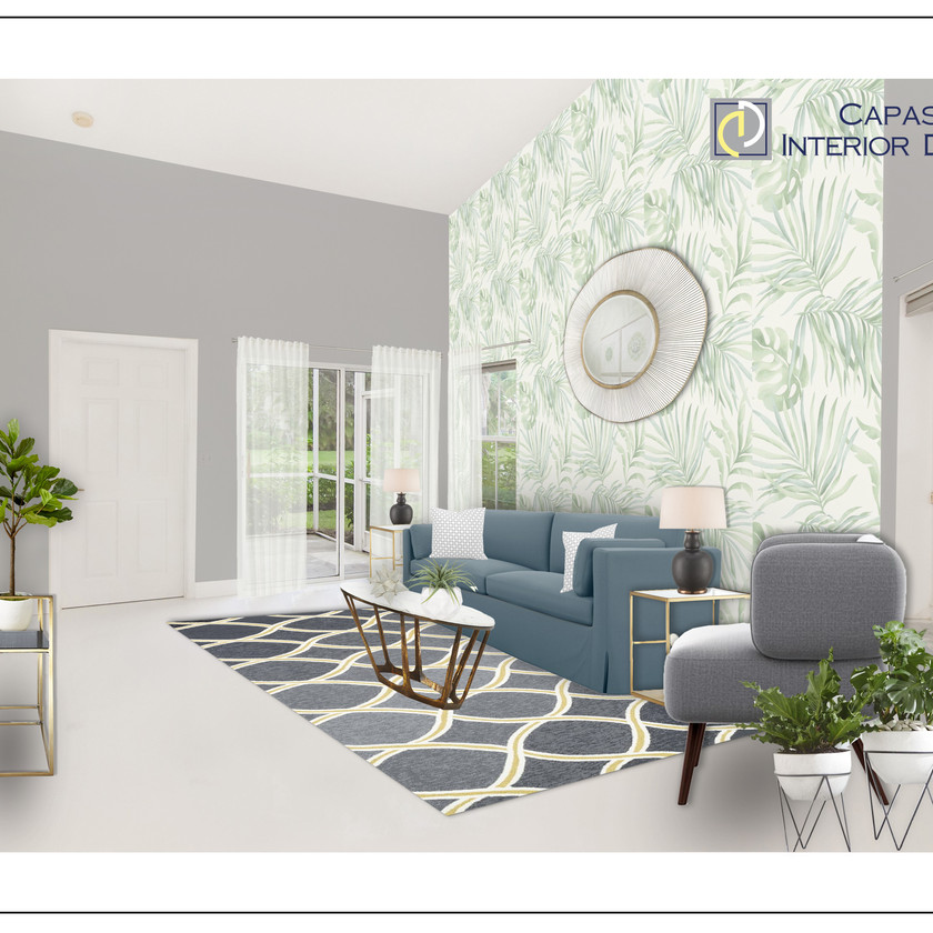 Modern living room eDesign on a budget with a 3D rendering, with green, gray, and white tones