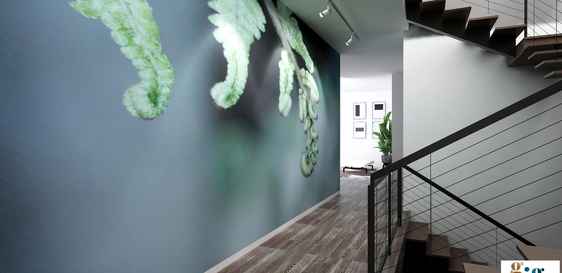 Hallway render with mural