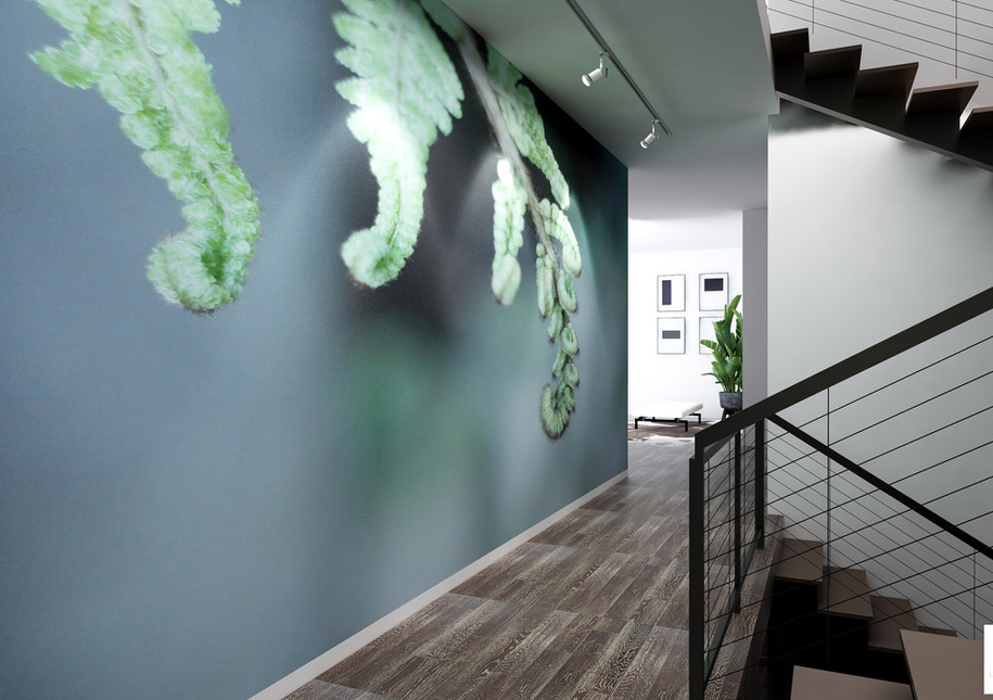 Hallway render with mural