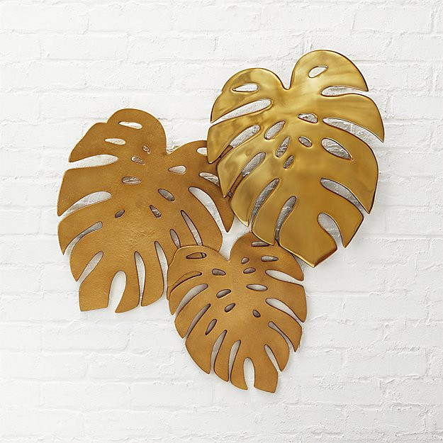 Monstera leaves three dimensional wall art
