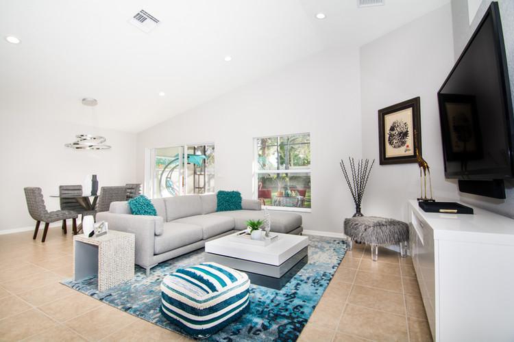 Living room design with open floor plan