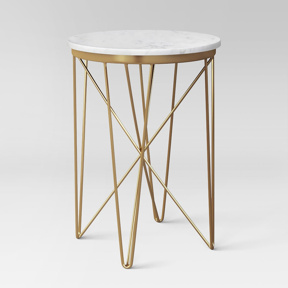Side, end table, plant stand, gold and white, Target
