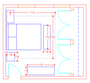 Furniture plan with optimal sizes and dimensions for a guest bedroom
