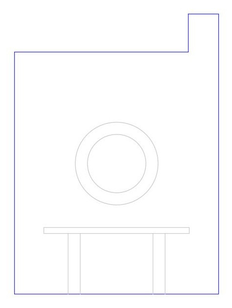 Mirror size scaled with an elevation drawing for a perfect fit.