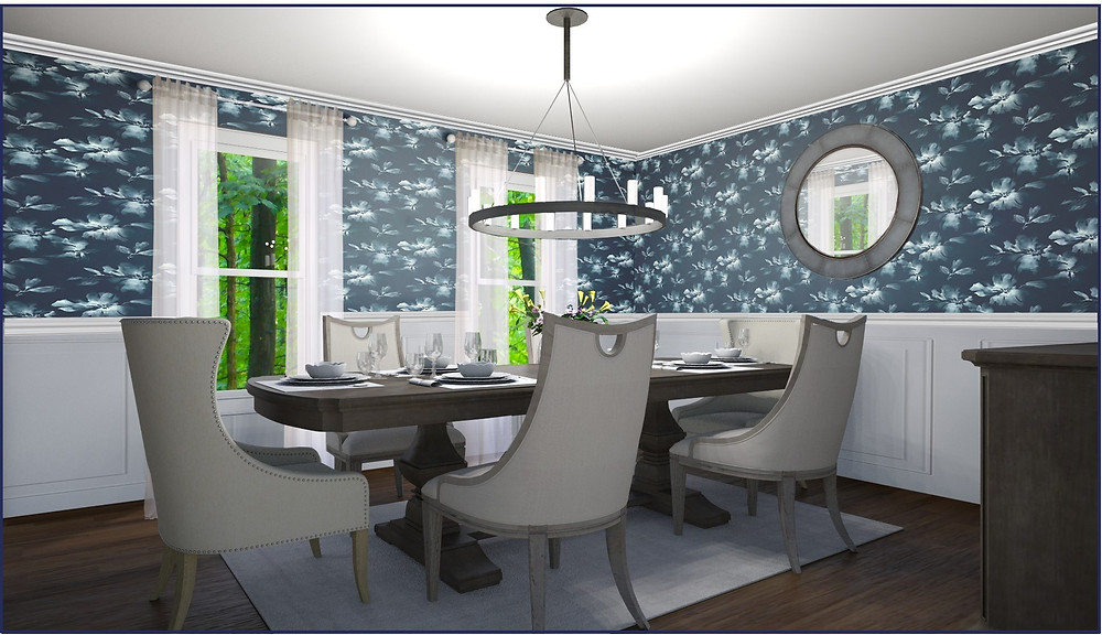 Online eDesign example of how your own rendering can look like, transform a simple room to a stunning design, navy walls, elegant dining room