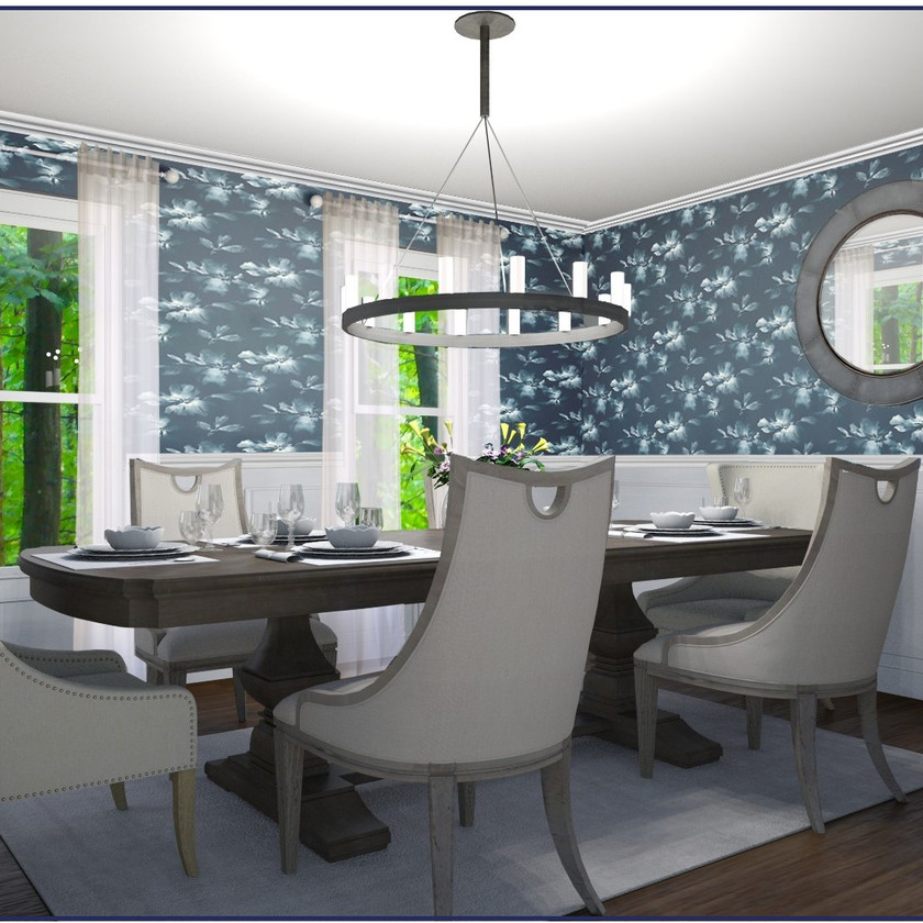 Modern country and transitional dining room eDesign, online virtual design will navy, white, and wood tones
