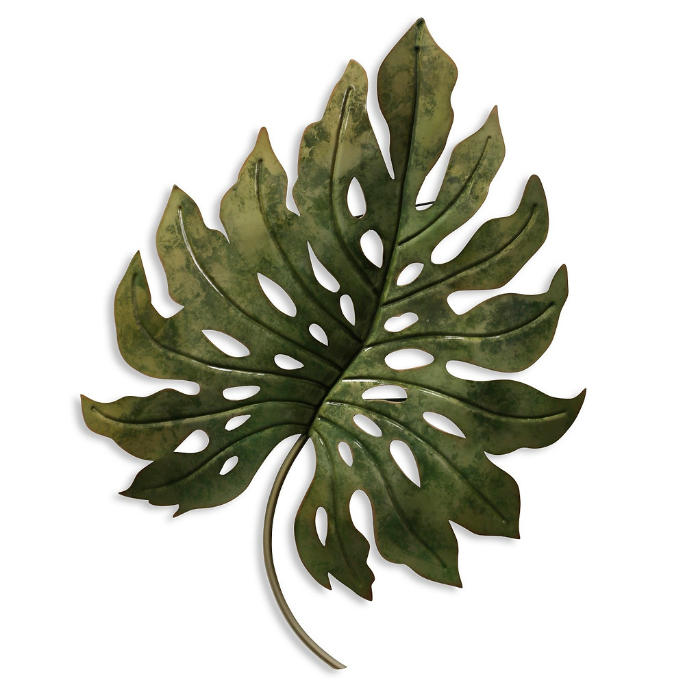 Single monstera leaf, wall decor, metal art