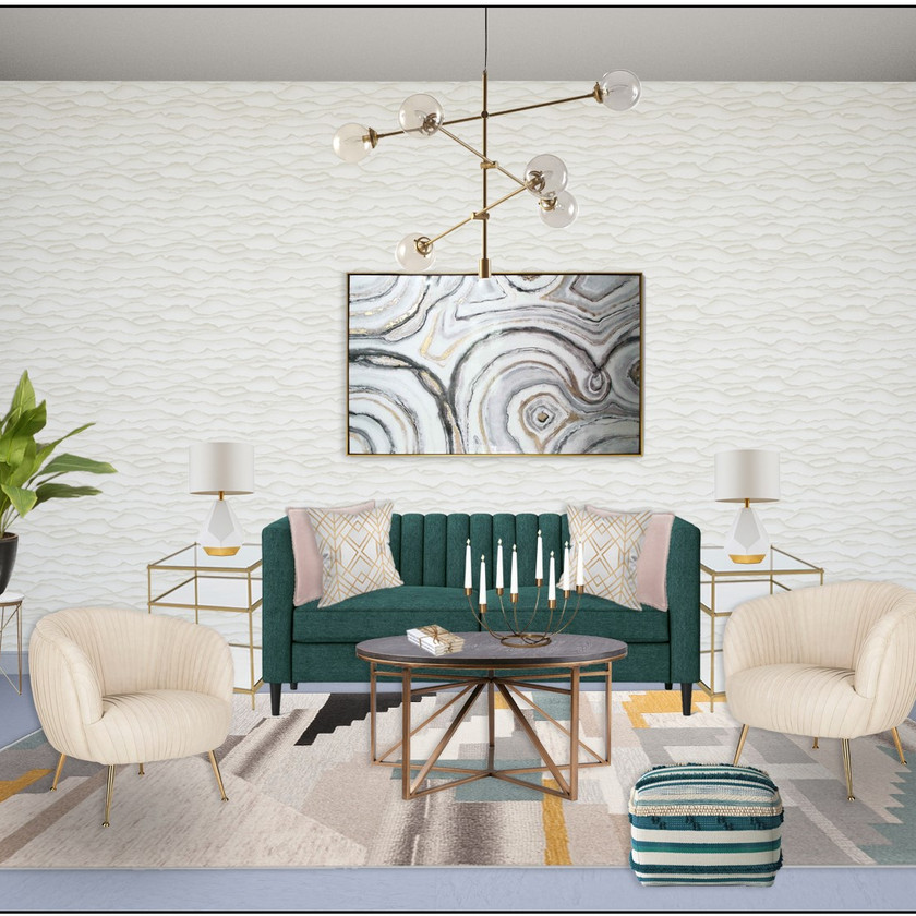 Modern and glam living room eDesign with a glam feel