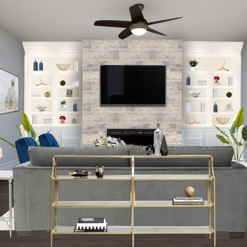 Modern living room eDesign on a budget with a 3D rendering, brass tones, navy accents