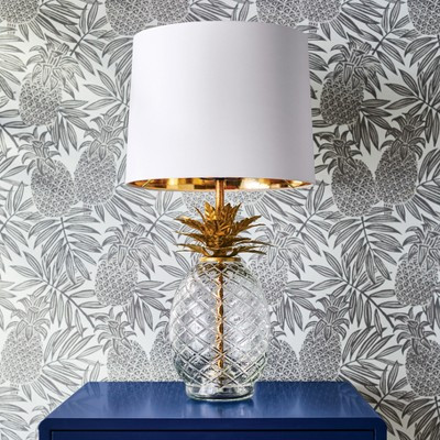 Pineapple table lamp with gold and white shade, glass, Target