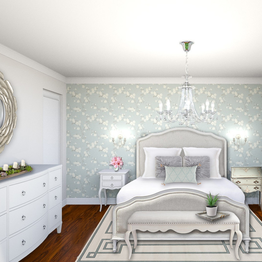 Online interior design, eDesign of a romantic and vintage bedroom with virtual staging