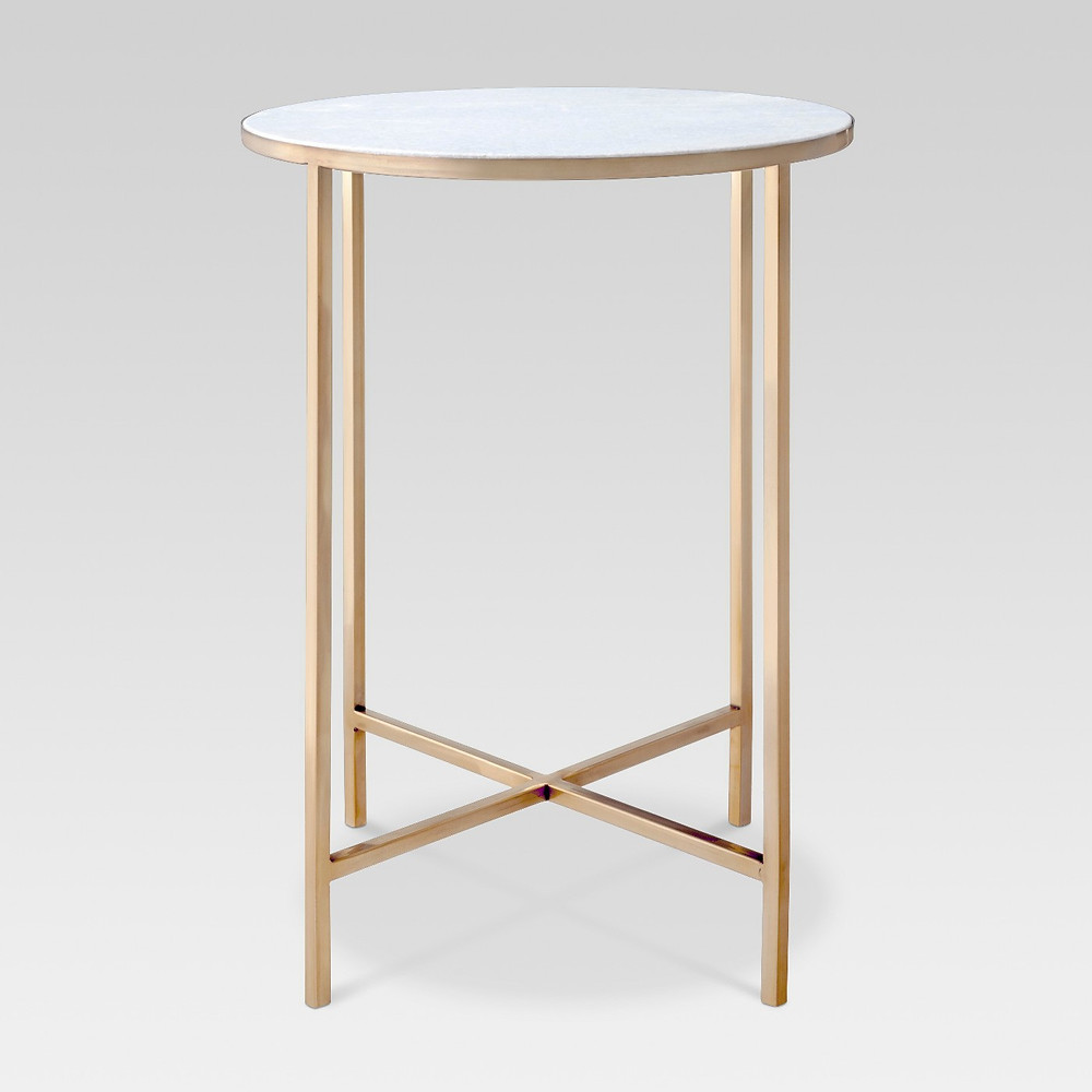 Simple, small white and gold accent table, Target