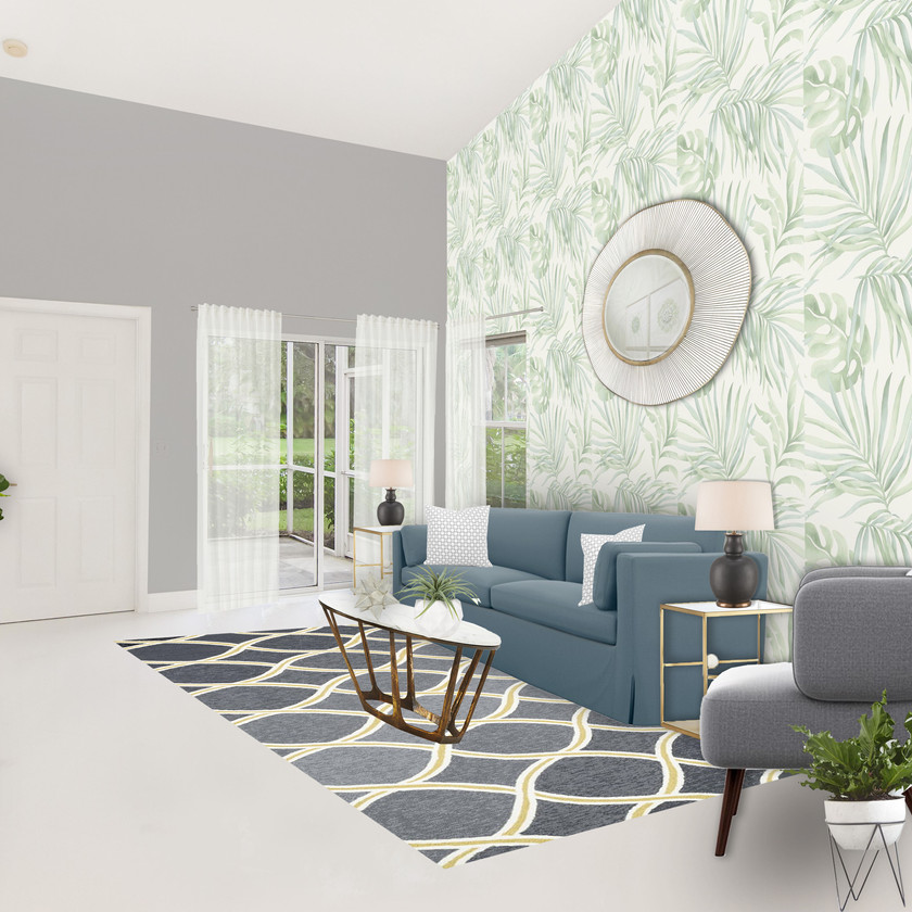 Online interior design, eDesign of a modern living oom with virtual staging
