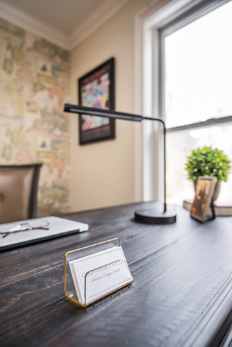 Home office desk with decor