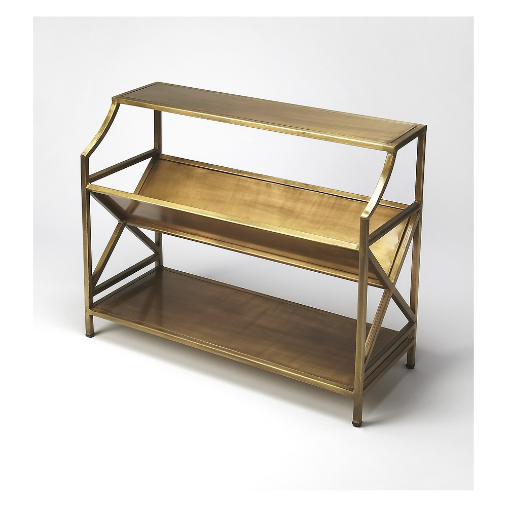 Narrow brass book shelf and storage, accent table, Target