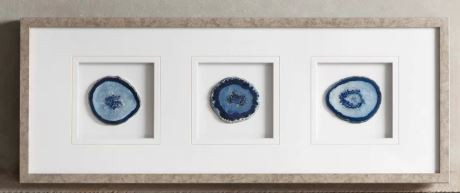 Blue agate stone art, set of three