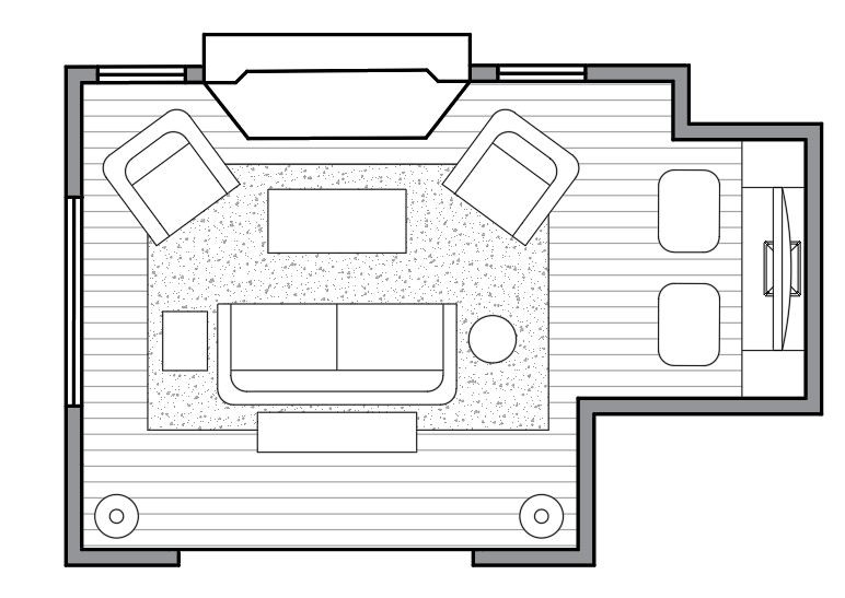 How to layout furniture in an awkward shape living room?
