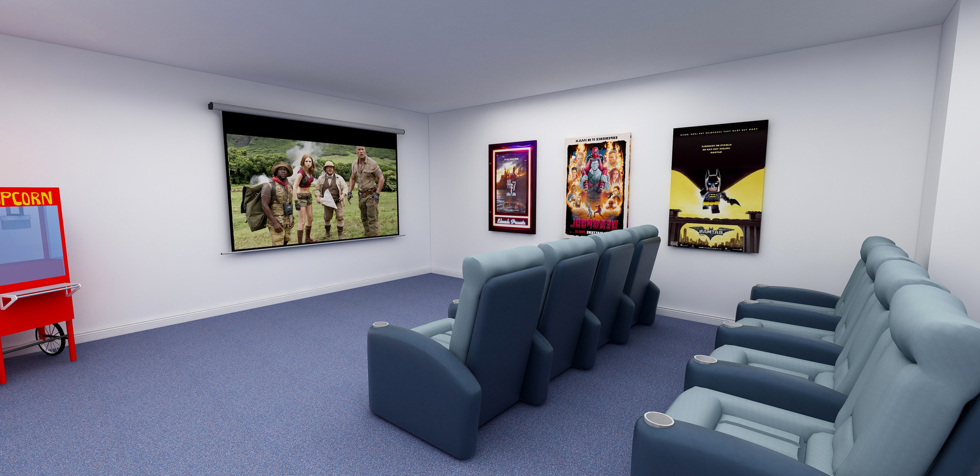Basement home movie theater render