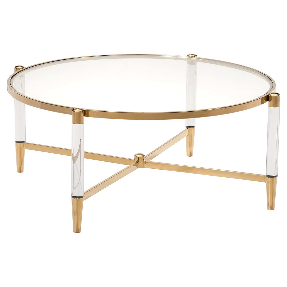 Glam, lucite, gold and glass coffee table, Target