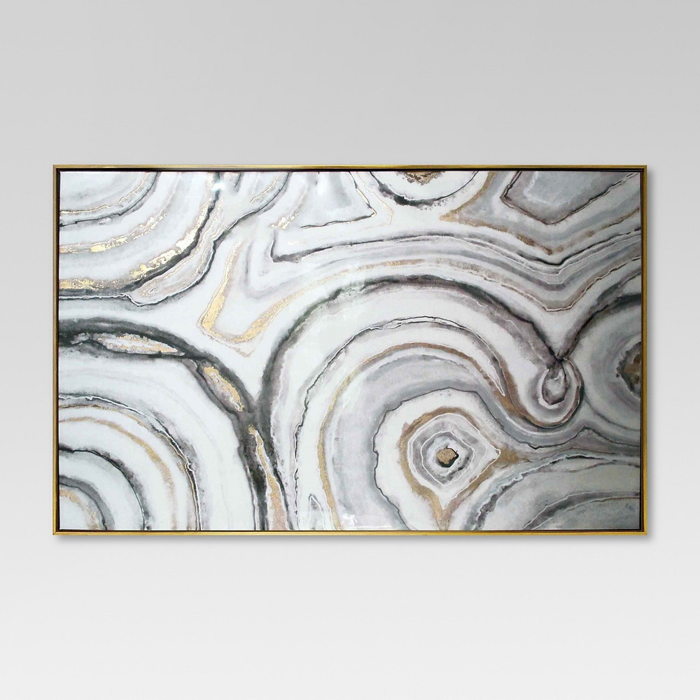 Gold, Gray, and White Geode art framed, Target
