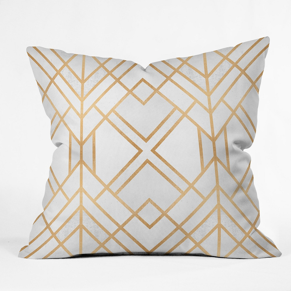 White and gold geometric pillow, Target