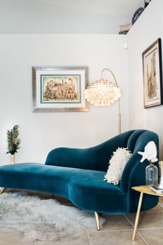 Teal Velvet peacock sofa from cb2.com