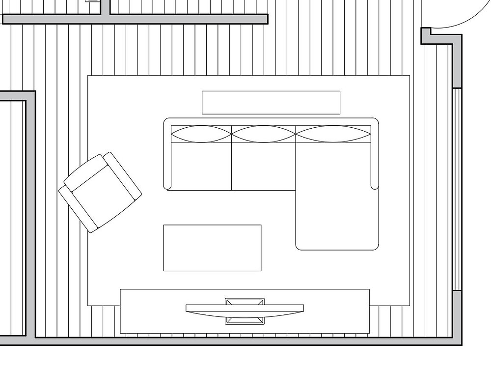 Furniture layout for a large living room with rug size, sectional sofa, large entertainment unit, console