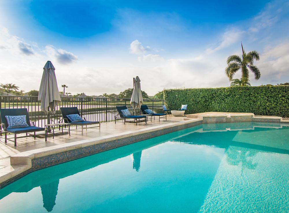sunbrella, perennials fabric, chaise lounge, blue cushions, pool