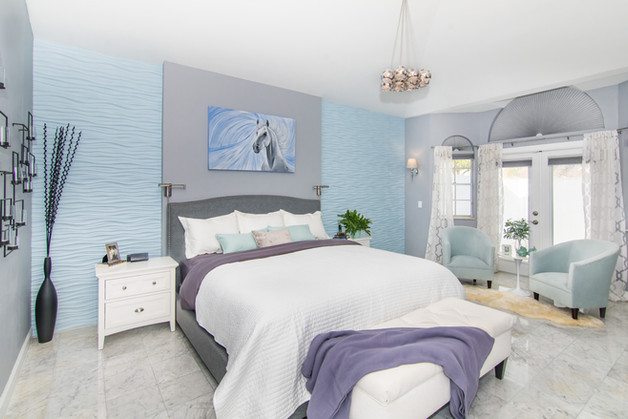 Master bedroom with blue, white and gray, contemporary and transitional design