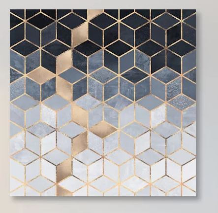 Geometric canvas art, blue, gold, white