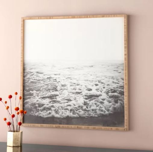 Black and white ocean scene, wall art, canvas