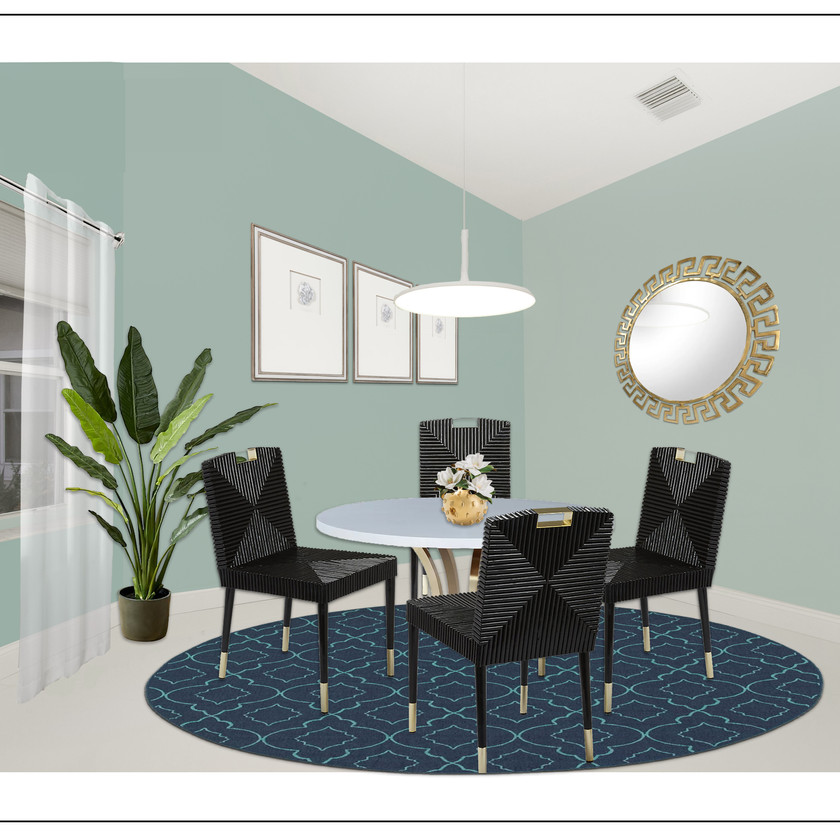 Online interior design, eDesign of a modern dining room with virtual staging