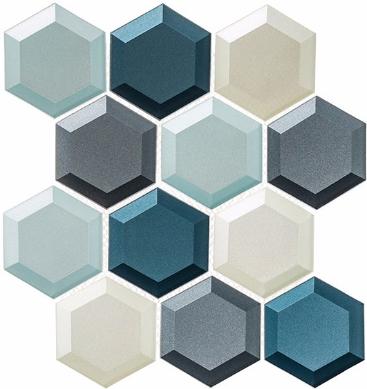 Fun, multiple tone hex mosaic with beveled edge. Stunning!