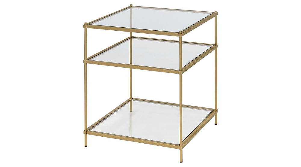 Brass End Side Table with shelves and glass from Target