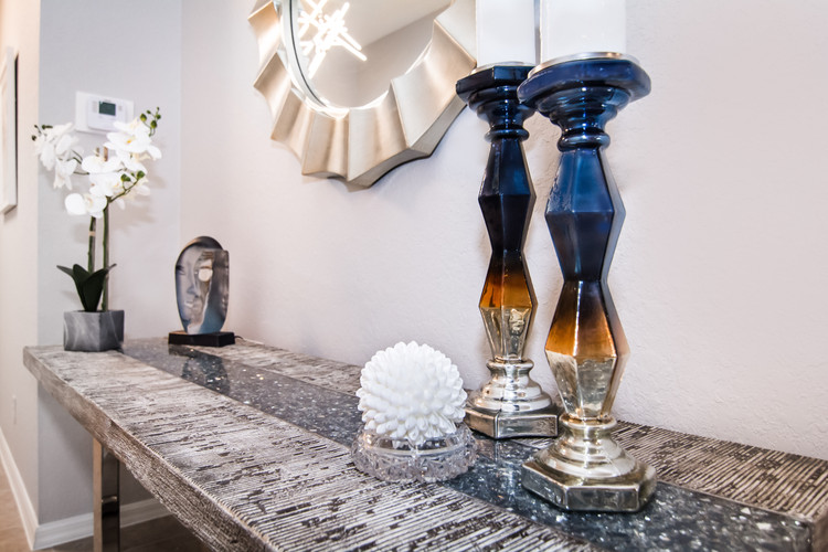 Entryway styling, console decor