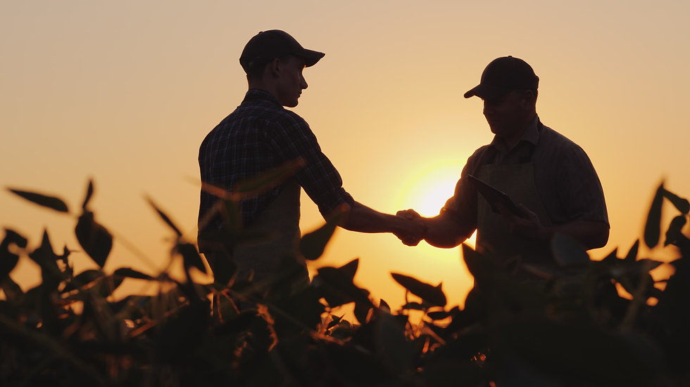 Two farmers talk on the field, then shak
