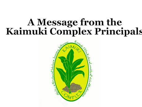 HIDOE Kaimuki Complex Principals Messages