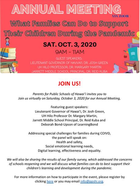 Zoom Meeting held by Public Schools of Hawai'i